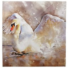 Watercolor Swan Cloth Napkin - kitchen gifts diy ideas decor special unique individual customized
