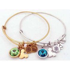 Disney Alex And Ani Charm Bracelet Birthstone Silver Jewelry