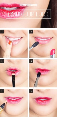 How to create the perfect, I-just-ate-a-popsicle ombre look. Contour Makeup, Kiss Makeup, Love Makeup, Makeup Tips, Makeup Looks, Beauty Make Up, Diy Beauty, Beauty Hacks, Beauty Ideas
