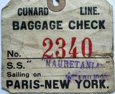 cunard line baggage tag