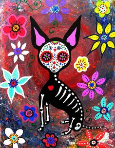 EL PERRITO, PERRO, PERRITO, CHIHUAHUA, DOG, DAY OF THE DEAD, DIA DE LOS MUERTOS, SKULL, SKELETON, FOLK ART, MEXICAN, MEXICAN PAINTINGS, DOG PAINTINGS, FLORALS, FLOWERS, WHIMSICAL, PRISTINE CARTERA-TURKUS, PRISARTS, OUTSIDER ART, BRUT ART