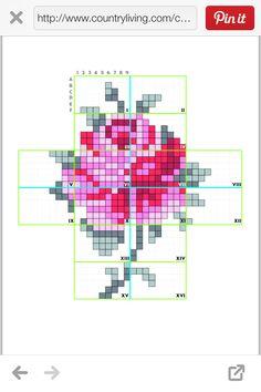 Rose pattern for wall stencil. Cross Stitch Rose, Modern Cross Stitch, Cross Stitch Flowers, Cross Stitch Charts, Cross Stitch Patterns, Embroidery Applique, Cross Stitch Embroidery, Embroidery Patterns, Wal Art