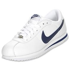 nike cortez white and blue