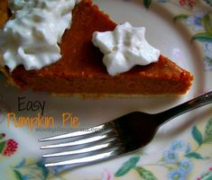 Easy Pumpkin Pie - only 7 ingredients and perfect for Thanksgiving  http://www.stockpilingmoms.com/2012/11/easy-pumpkin-pie/