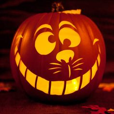 Welcome trick-or-treaters with the Cheshire Cat's cynical smile.