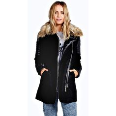Boohoo Boutique Ruth Fur Collar Biker Coat ($105) ❤ liked on Polyvore featuring outerwear, coats, black, black duster coat, biker coat, black raincoat, black fur collar coat and wrap coat