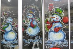 Snowmen exercising window painting