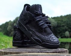 "Air Jordan IV ""Black Python"" Customs By McMaggi The Air Jordan..."