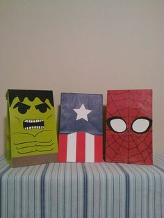 Captain America, Spiderman, Hulk inspired birthday party/treat bags. $15.00, via Etsy.