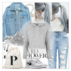 """""""Untitled #96"""" by khgfkty ❤ liked on Polyvore featuring Mode, Tiffany & Co., Genetic Denim, Topshop und NIKE"""