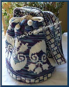 Ravelry: Blossom Tapestry Crochet Chart - PDF Pattern pattern by Marina G Tapestry Bag, Tapestry Crochet, Crochet Chart, Knit Crochet, Crochet Things, Crochet Bags, Change Colors In Crochet, Drawstring Bag Pattern, Mochila Crochet