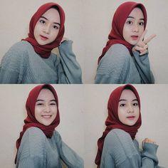 kumpulan gambar tutorial hijab segi empat sederhana terbaru simpel - my ely Casual Hijab Outfit, Ootd Hijab, Hijab Chic, Hijabi Girl, Girl Hijab, Muslim Girls, Muslim Women, Muslim Fashion, Hijab Fashion