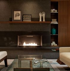A Modern Classic that Defies the Ordinary .Create a flawless focal point with the sleek Fire Ribbon Direct Vent Single Vu Fireplace from Spark Fires. Library Fireplace, Fireplace Shelves, Wood Fireplace, Modern Fireplace, Fireplaces, Fireplace Ideas, Living Room Interior, Home Living Room, Contemporary Fireplace Designs