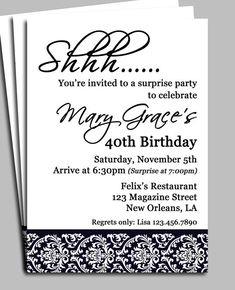 Black Damask Surprise Party Invitation Printable -  Bridal Shower, Adult Birthday, Anniversary Party, ANY Occasion