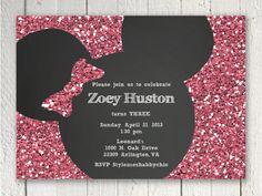 Glitter and chalkboard Minnie Mouse Printable Invitation. $9.50, via Etsy.