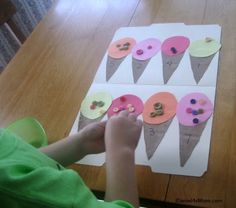 Button Counting Ice Cream Game and other ideas for learning games with ice cream