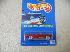 Hot Wheels 65 mustang convertible all blue card #162 blood red by Mattel. $9.40. Hot Wheels 65 mustang convertible all blue caed #162 blood red. Hot Wheels 65 mustang convertible all blue caed #162 blood red