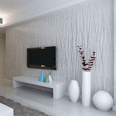 Wholesale-Non-Woven Fashion Thin Flocking Vertical Stripes Wallpaper For Living Room Sofa Background Walls Home Wallpaper Grey Silver Feature Wall Living Room, Living Room Grey, Living Room Bedroom, Living Room Decor, Feature Wallpaper Living Room, Bed Room, Striped Wallpaper Living Room, Home Wallpaper, Wallpaper Roll