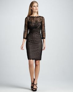 So me! [Classically Edgy]: Tadashi Shoji crafted this Three-Quarter-Sleeve Mixed Lace Cocktail Dress well! - Neiman Marcus