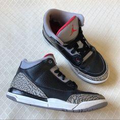 timeless design 987e3 8632a Jordan Shoes   Jordan 3 Black Cement Sneakers   Color  Black Red   Size  2b
