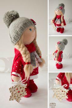 Winter tilda doll Christmas doll Art doll handmade blonde red grey colors soft doll Cloth doll Fabric doll toy by Master Yulia Postnova