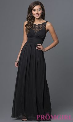 Floor-Length Illusion-Lace Sleeveless Dress