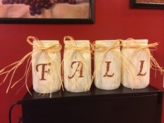 Set of 4 quart size mason jars with fall theme. Jars can be turned around for everyday use. $19.99