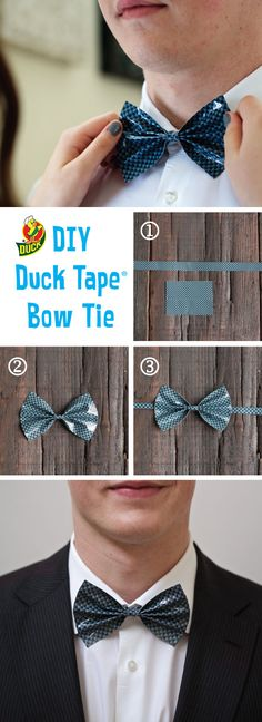 DIY duct tape bow tie for prom! Make your prom outfit out of Duck Tape and enter the 2017 Stuck at Prom Scholarship Contest for a chance to win part of $50,000 in prizes!