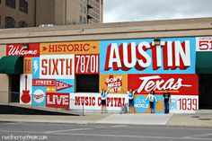 Historic 6th St Mural, located on Located on the southwest corner of 6th Street and I-35.