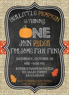 Pumpkin First Birthday Invitation Fall by CarouselPrintables