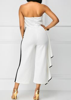 High Waist Ruffle Overlay Strapless White Jumpsuit on sale only US$35.84 now, buy cheap High Waist Ruffle Overlay Strapless White Jumpsuit at liligal.com