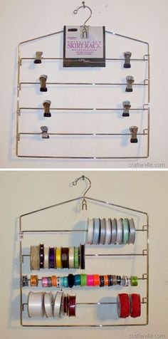 Ribbon organization with a skirt hanger. 50 Brilliant, Easy & Cheap Storage Ideas (lots of tips and tricks) Ribbon Organization, Ribbon Storage, Sewing Room Organization, Craft Room Storage, Storage Organization, Organizing Ideas, Washi Tape Storage, Craft Rooms, Organising