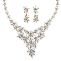 Palm Beach Jewelry PalmBeach 56 1/10ct TCW Marquise-cut Cubic Zirconia Flower Motif Necklace and Earrings Set 14k Goldplated Bold Fashion (Necklace & Earring Set), Yellow