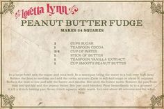 Loretta Lynn Just Shared Her Famous Peanut Butter Fudge Recipe It's Lynn family favorite. Old Recipes, Fudge Recipes, Vintage Recipes, Candy Recipes, Sweet Recipes, Dessert Recipes, Copycat Recipes, Retro Recipes, Dessert Ideas