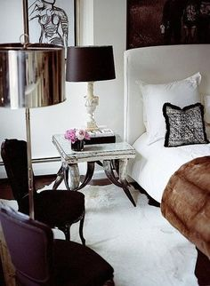 Another pretty bedroom; black, white, and purple.
