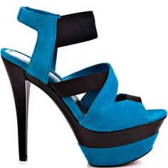 A curving, sinuous shape seen in this Jessica Simpson style will create quite the attention grabber.  Malika has a combination of flexible elastic straps and rich blue suede straps perfecting the upper.  A 5 1/4 inch skinny heel and 1 1/2 inch double stacked platform give you a seductive party look.