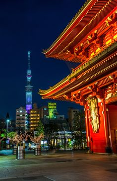 tokyo sky tree view from a japanese temple