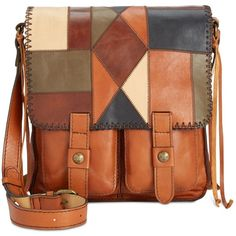 Patricia Nash Zigzag Patchwork Armeno Messenger ($249) ❤ liked on Polyvore featuring bags, messenger bags, zig zag stitch patchwork, genuine leather bags, brown leather bag, leather strap bag, genuine leather messenger bag and patricia nash