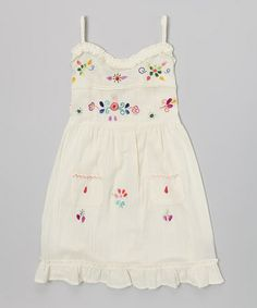 Natural Sol Embroidered Dress - Infant by Little Cotton Dress