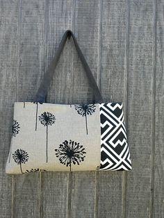Handbag Purse Tote Bag with Dandelions in Black