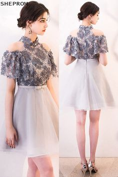 Shop Cute Grey Mini Homecoming Dress Cold Shoulder with Flowers online. SheProm offers formal, party, casual & more style dresses to fit your special occasions. Dresses For Teens, Trendy Dresses, Simple Dresses, Cute Dresses, Beautiful Dresses, Short Dresses, Fashion Dresses, Girls Dresses, Elegant Dresses