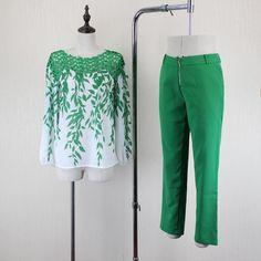 2017 Stereo Lace Embroidery Splicing Chiffon Lance Print Sexy Chiffon Shirt + Casual Pants Sets Female suits wj287