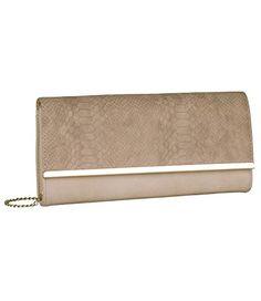 """SIX """"Party""""cremefarbene hellbraune beige kleine Damen Handtasche Abendtasche Clutch Pochette Schlangenleder-Design abnehmbaren Kettenriemen (463-196)"""
