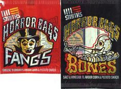 Smiths Bones crisps and Smiths Fangs crisps. Horror bags filled with delicious corn and potato snacks - deeelicious!