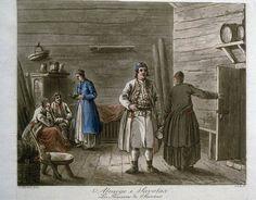 Allmoge i Savolax. Akvatint över konturetsning av Johan Fredrik Martin efter Pehr Hilleström d.ä. Ca 1800.