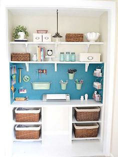 Craft room storage in a closet. So beautifully organized! Get things up off the desk. Would be great for the kids craft things. Love the painted pegboard for the utility/craft room. Craft Room Storage, Closet Storage, Craft Organization, Craft Rooms, Craft Space, Organizing Ideas, Garage Storage, Spare Room Storage Ideas, Pegboard Craft Room