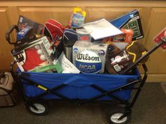 A big part of our Charger Challenge charity fundraiser each year is the raffle baskets. Themed baskets are assembled from […] School Auction Baskets, Silent Auction Baskets, Fundraiser Baskets, Raffle Baskets, Theme Baskets, Themed Gift Baskets, Chinese Auction, Raffle Prizes, Raffle Ideas