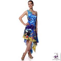 """Купить Шелковое платье """"Подводный мир"""" макетное с авторским принтом - платье, Коктейльное платье"""