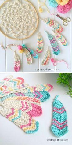 Tunisian Feathers Free Crochet Pattern
