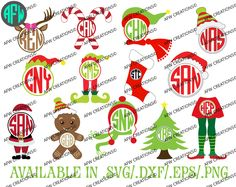 Digital Cut File, Christmas Monogram Set, Vinyl, SVG, DXF, EPS, Santa, Vector, Silhouette, Cricut, Elf, Reindeer, Tree, Winter, Hat, Scarf by AFWifeCreations on Etsy